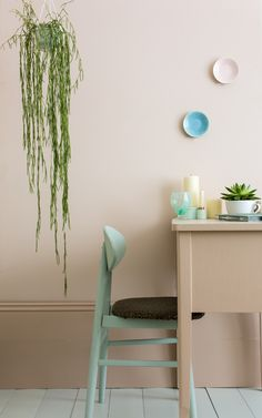 Pink Ground creates a humble beauty in the home making rooms feel pretty without being sugary or infantile, rather it feels more like a diluted plaster colour.  Walls: Pink Ground No.202 Estate Emulsion from £38  5ltr £65 Skirting & Desk:  Setting Plaster No.231 Estate Eggshell from £21 Floor: Pale Powder No. 202 Floor Paint from £23   Chair: Teresa's Green No. 236 Estate Eggshell from £21