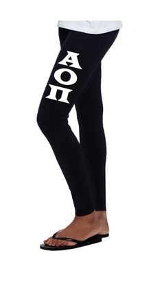 Alpha Omicron Pi Leggings Boot Style with Block Letters. #aopi #alphaomicronpi