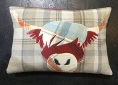 Scottish Cow, Scottish Animals, Scottish Gifts, Cushion Embroidery, Applique Cushions, Tartan Crafts, Wool Quilts, Tartan Fabric, Red And Blue