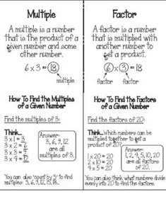 with Factors and Multiples Foldables and More! Working with Factors and Multiples Foldables and MoreWorking with Factors and Multiples Foldables and Math Strategies, Math Resources, Math Tips, Factors And Multiples, Formation Continue, Math Charts, Math School, Fourth Grade Math, Math Intervention