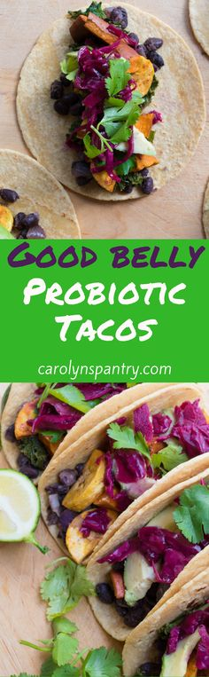 If you're looking for a weeknight-friendly 30-minute taco recipe tonight that will make your tastebuds and belly happy, I've got just the thing for you: good belly probiotic tacos! The best part is that these babies are gluten-free and vegan too! Probiotic tacos? Heck yes! They're loaded with fiber, greens, and kimchi for a gorgeous color and some major digestion-boosting power. The probiotics in the recipe come from the purple kimchi topping.