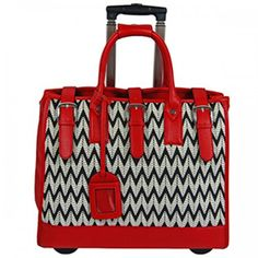 Overnighter Bag on wheels - Chevron and Red by Cadelle Leather available at  www.seasonsemporium.com 82605b1dd9bb3