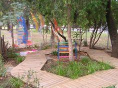 Outdoor play space in Australian preschool inspired by Reggio.