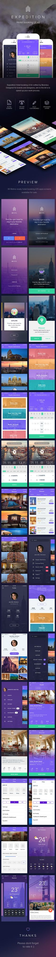 Expedition Hotel booking UI kit designed for brands and designers, Package includes 30 PSD screens. The whole pack is oriented on hotel/ travel segment, and it covers all the screens that you need to build a beautiful app.This UI Kit includes:• 30 PSD…