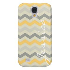 Custom add your own monogram, initial, name, birthday or special date customizable yellow and gray grey chevron zigzag stripes zig zag modern geometric tribal print striped retro, yet modern hipster pattern design Samsung Galaxy s4 case cover. #samsunggalaxys4 #galaxys4 #chevrongalaxy #galaxys4case #chevron #zigzag