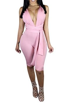 3c36645f2d2 2017 Summer Sexy Elegant Womens Rompers Jumpsuit Casual Solid Color  Bodysuit Sleeveless V-Neck Half length Playsuits Plus Size