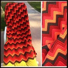"Chevron Afghan - 52 X 82"" #vintage #vintagehome #vintagedecor #vintagestyle #chevron #afghan #crochet #crocheted #crocheting #crochetlove #crochetblanket #cherry #red #tomato #orange #interiors #home #decor #decorating #homedecor #grandmashouse #patio #couch #porch #blanket #throw #needlework #stitching #silverlake #dtla by elkhugs_vintage"