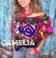 Mexican Top, Mexican Blouse, Mexican Dresses, Embroidered Flowers, Floral Embroidery, Picture Outfits, Silk Thread, Satin Fabric, Dresses For Sale