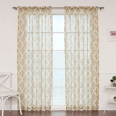 "Best Home Fashion Faux Sheer Gauzy Linen Moroccan Print Curtains - Rod Pocket - Beige - 52""W x 96""L - (Set of 2 Panels), http://www.amazon.com/dp/B014V569NG/ref=cm_sw_r_pi_awdm_k643wb02T3J3K"