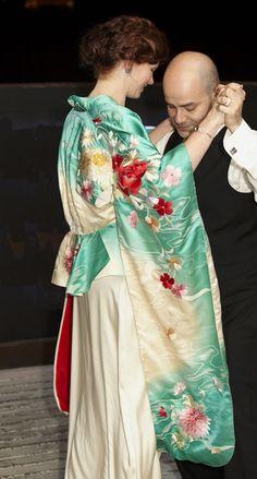 """Julie looking absolutely fabulous in her stunning Toku Jacket"" made using vintage kimono silk, Yoshi Jones.    Milk and Honey Photography"
