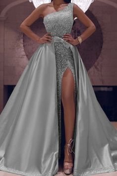Fabulous One Shoulder Sequin Dresses 2020 With Detachable Skirt – Phylliscouture Mermaid Sequin Dress, Sequin Gown, Glitter Prom Dresses, Tulle Prom Dress, Pink Dress, Ball Dresses, Ball Gowns Prom, Velvet Bridesmaid Dresses, Essense Of Australia
