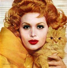 Model Isabella Albonico for Helena Rubinstein 24 Karat Red, 1958