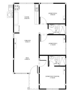 Guest House Plans, 3d House Plans, Three Bedroom House Plan, Indian House Plans, House Layout Plans, Duplex House Plans, House Layouts, Bungalow Floor Plans, Modern House Floor Plans