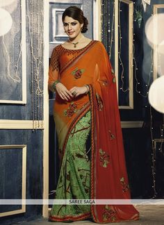 http://www.sareesaga.in/printed-sarees/alluring-orange-and-green-georgette-saree-8889  Style:Designer Shipping Time:12 to15 Days Occasion:Casual Fabric:Faux Georgette Colour:Green Orange Work:Patch Border Work Print  For Inquiry Or Any Query Related To Product, Contact :- +91 9825192886