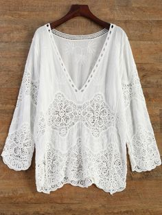 SHARE & Get it FREE | Crochet Plunge Beach Cover-Up Dress - WhiteFor Fashion Lovers only:80,000+ Items • New Arrivals Daily Join Zaful: Get YOUR $50 NOW!