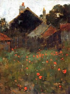 red-lipstick:  Willard Metcalf aka Willard Leroy Metcalf (1858-1925, USA) - The Poppy Field,c.1886 Paintings: Oil on Canvas