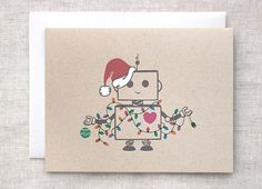 Christmas Card, Funny Robot Santa Holiday Card - Hand Painted, Ecofriendly, Recycled Brown on Etsy, $5.00