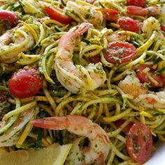 Fresh Pesto, with Shrimp Zoodles Recipe http://cleanfoodcrush.com/pesto-shrimp-zoodles/