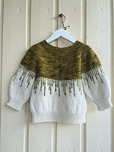 Paint Drips Sweater by Yvonne B. Thorsen ¬ malabrigo Rastita in Mostaza and undyed Diy Knitting Projects, Knitting Designs, Drip Painting, Knitting Charts, Sweater Design, Knitting For Kids, Painting Patterns, Crochet Top, My Design