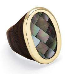 Gleaming yellow gold tone encircles oval and exotic black mother-of-pearl with a deep, rich wood band. This fresh lookPrice - $19-MqeJ4lwT