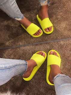 Bling Sandals, Rhinestone Sandals, Cute Sandals, Flat Sandals, Shoes Sandals, Cute Slides, Jelly Slides, Shoe Room, Lace Heels