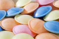 Flying Saucers...papery covers melted & then there was sherbet inside.