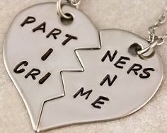 Partners in Crime Necklaces | Gift For Best Friend | BFF Split Heart Necklaces | Hand Stamped Best Bitches Jewelry | Best Friend Gift