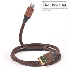 MFi Certified USB Short Wood Leather iPhone Usb Charger/Sync Data Cable