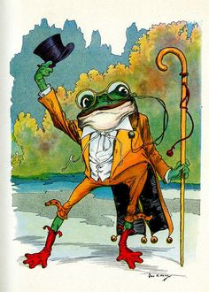 """Illustration by John R. Neill, from """"The Lost Princess of Oz"""" Funny Frogs, Cute Frogs, Reptiles, Frog Art, Frog And Toad, Pics Art, Children's Book Illustration, Illustrators, Fairy Tales"""