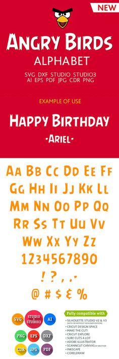 Angry Birds Font Alphabet Cuttable SVG DXF EPS Studio Studio3 Png Pdf Jpg Ai Cdr  files for Silhouette Studio, Cricut, Cameo