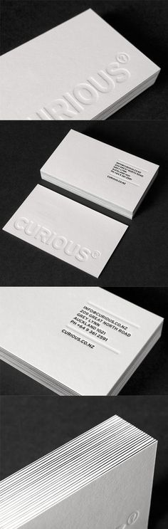 Deeply Embossed White Letterpress Business Card Design