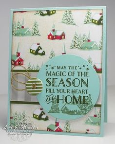 Creative Inking Blog Hop using Stampin' Up! products...Cozy Christmas stamp set, Home for Christmas Designer Series Paper and Designer Buttons, and Gold Cording.  Created by Lori Mueller at www.stampindreams.com