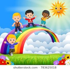 Happy kids standing over the rainbow vector image Art Drawings For Kids, Drawing For Kids, Art For Kids, Back To School Wallpaper, School Wall Decoration, Sun Clip Art, Rainbow Drawing, Arte Quilling, Baby Raccoon