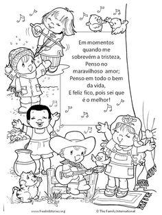 crianças cantando - página para colorir