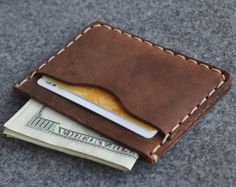Leather wallet rustik style brown credit card cash by HAPPER