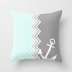 Nautical Chevron Throw Pillow by Sunkissed Laughter - $20.00