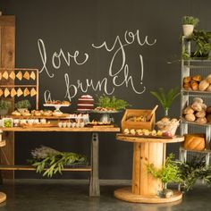 An adorable brunch themed bridal shower complete with delicious breakfast foods and a fun chalkboard sign!