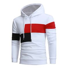 b26120344 Men s Active Long Sleeve Long Hoodie - Solid Colored Round Neck White XL    Fall
