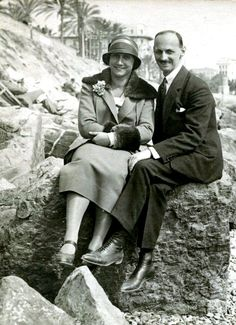 Otto and Edith Frank on their honeymoon in San Remo, Italy, 1925  Parents of Anne Frank.  He was the only person in their family who survived the Nazi regime.