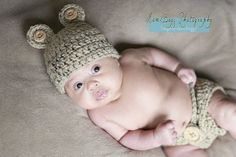 Baby Bear Hat and Diaper Cover Set With Wooden by conniemariepfost, $45.00