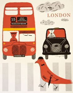 illustration : Londres, UK, bus et taxi, transport urbain, rouge