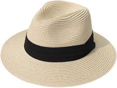 Lanzom Women Wide Brim Straw Panama Roll up Hat Fedora Beach Sun Hat (Khaki) One Size Floppy Straw Hat, Wide Brim Fedora, Fedora Hat, Brim Hat, Fedora Beach, Sun Hats For Women, Women Hats, Thing 1, Shopping