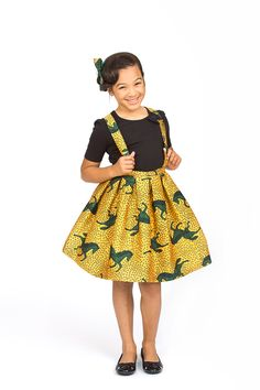 Green Pony Ankara Silk (Suspender & Box Pleat) Skirt, $49.99