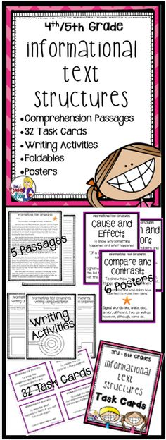 This 60 page complete reading packet for informational text structures is filled with text structure task cards, graphic organizers, worksheets, posters, doubled sided practice passages, writing activities, foldables, a flip book and more! Lots of reading materials here! Engaging! (TpT Resource)
