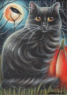 Black Cat & Raven - Halloween Painting