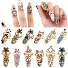 New Beauty Bowknot Crystal Rhinestone Nail Art Knuckle Band Finger Tip Ring Xmas   Jewelry & Watches, Fashion Jewelry, Rings   eBay!