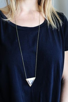 Quartz Crystal Tetrahedron Necklace by Gather