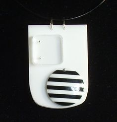 Jak Designs Jackie Johnson Black and White Necklace Up-cycled media perspex Black And White Necklaces, Dog Tag Necklace, Artisan, Personalized Items, Store, Jewelry, Design, Jewlery, Jewerly