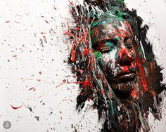 Lindsay Adler Photography To create this image we simply cut a hole in a canvas to fit the model's face and then began our abstract spatter paint creation. The human face literally was our canvas. The texture and 3-dimensionality made it appear as if the model were emerging from the print! Canon 5diii  Canon 24-70mm 2.8  Profoto d1 air 500 watt and beauty dish Wardrobe Styling: 4Season Style Management Prop Styling: Ivie Joy floral arts + events + events & team Hair and Makeup: GRISELLE MUA…