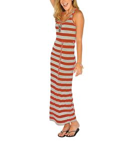Take a look at this Lagaci Midnight Coral Stripe Maxi Dress on zulily today!